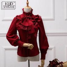 Vintage Lolita Wijn Rood Zwart Blauw Wit Lange Mouwen Chiffon Shirt Vrouwen Stand Kraag Elegante Blusas Vrouwelijke Gothic Blouse 8446