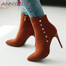 ANNYMOLI Autumn Ankle Boots Women Boots Rivets Stiletto Heels Short Boots Zip Super High Heel Shoes Lady Winter Plus Size 34-43 annymoli winter ankle boots women rhinestone stiletto high heel short boots zip pointed toe shoes ladies autumn plus size 34 43