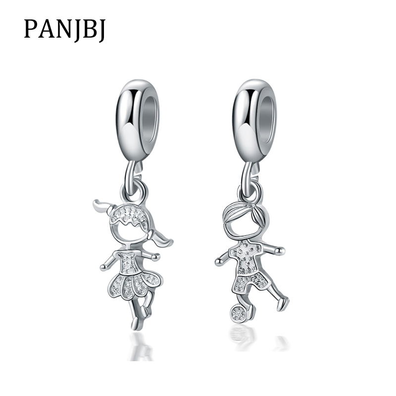 New Original Silver Plated Bead Alloy Boy Girl Kids Children Dangle Charm Fit Pandora Bracelet Bangle DIY Women Jewelry