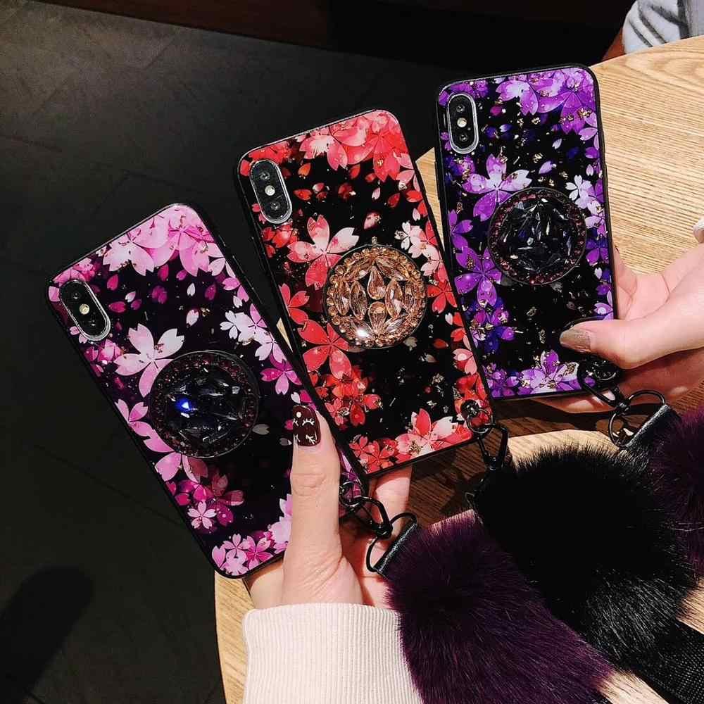 สำหรับ iPhone 11 PRO MAX 6 6sPlus 8 PLUS 7 Plus DIY คริสตัลผู้ถือขาตั้ง FUR ลูกบอลสายคล้องดอกไม้รักโทรศัพท์กรณี