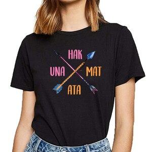 Топы, футболки, женские, hakuna, повседневные, черные, на заказ, женские футболки