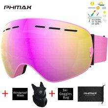 PHMAX-Gafas de esquí de doble capa, protección UV400, antiniebla, para esquí, nieve, unisex