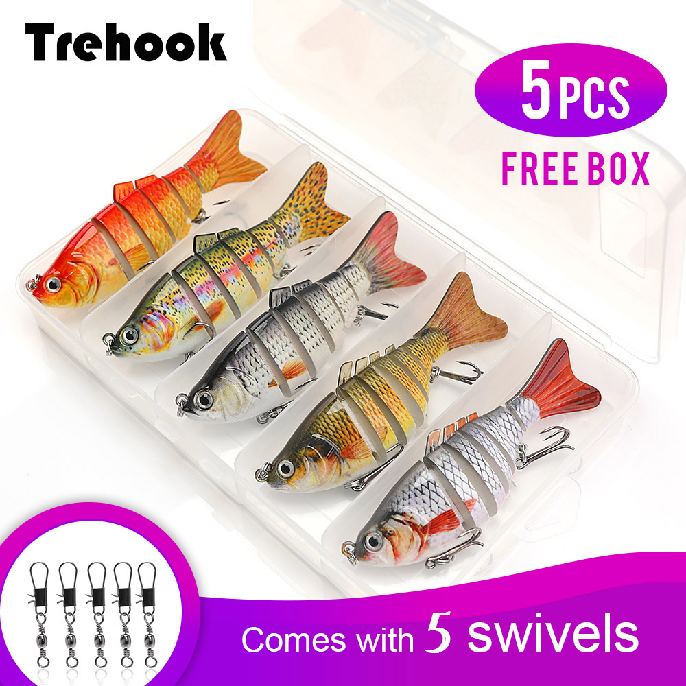 TREHOOK 5pcs Sinking Wobbler Set Crankbaits Fishing Kit Artificial Bait Hard Lure Swimbait Pike Wobblers For Bass Fishing Tackle