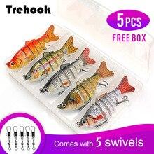 TREHOOK 5pcs Sinking Wobbler Set Crankbaits Fishing Kit Artificial Bait Hard Lure Swimbait Pike Wobblers For Bass Tackle