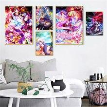 Anime japonês No Game No Life Poster Parede Da Sala de Pintura da Lona Arte Da Parede Impressão Da Arte Moderna Decoração da Casa Cartaz decoração