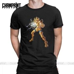Image 1 - Neuheit Leo Constelacion T Shirt Männer Baumwolle T Shirt Ritter von die Sternzeichen Saint Seiya 90s Anime Kurzarm Tees plus Größe Tops