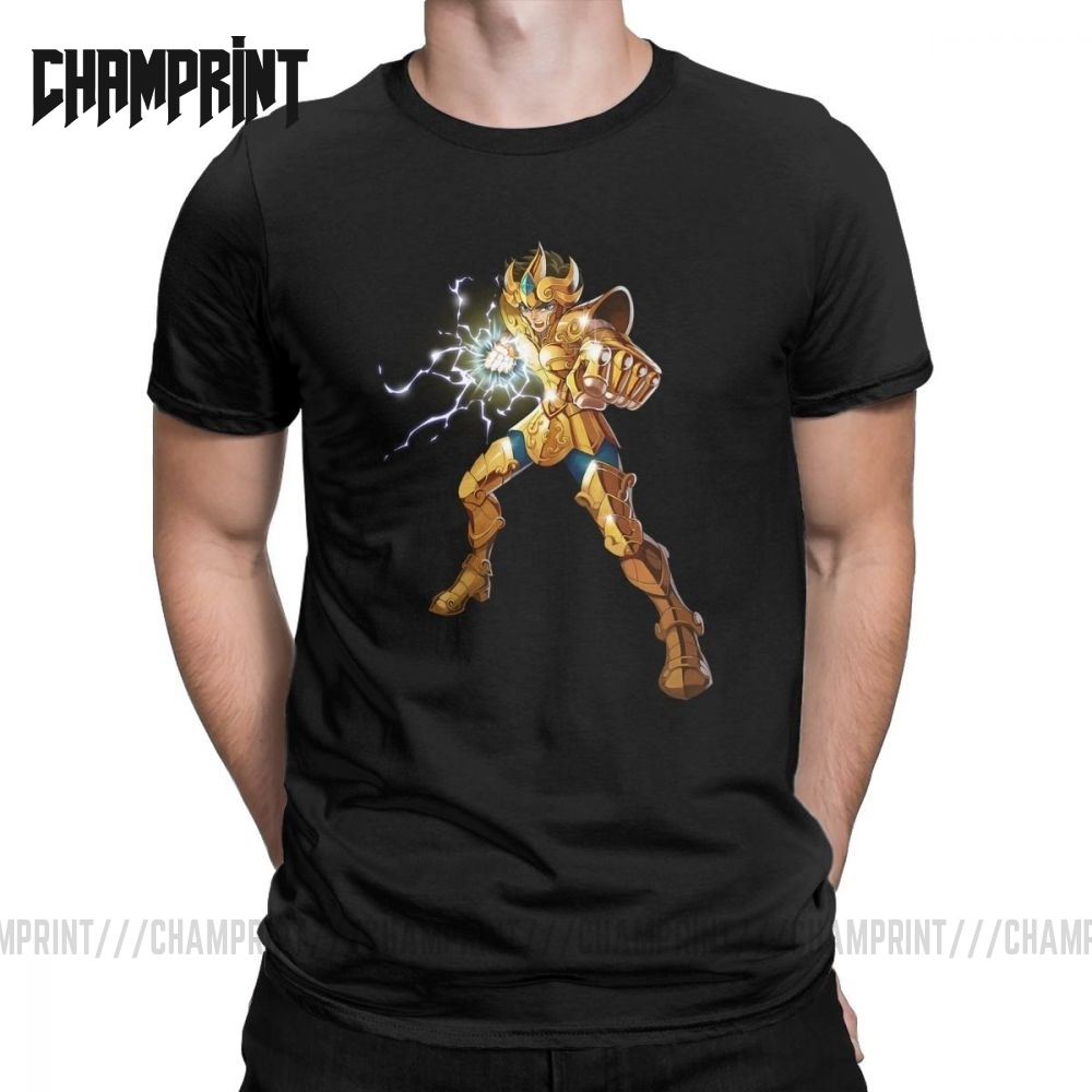Novelty Leo Constelacion T Shirt Men Cotton T Shirt Knights of the Zodiac Saint Seiya 90s Anime Short Sleeve Tees Plus Size TopsT-Shirts   -