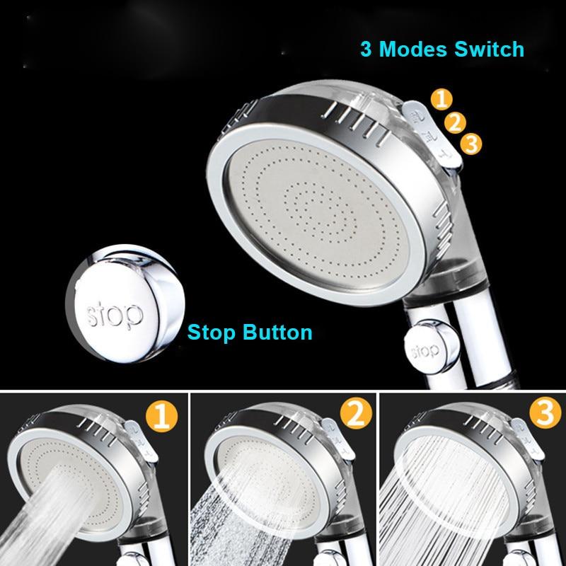 ZhangJi 3 Modes Adjustable High Pressure Shower Head Tourmaline Replaceable Filter SPA Shower Water Saving  Switch Button Shower 3