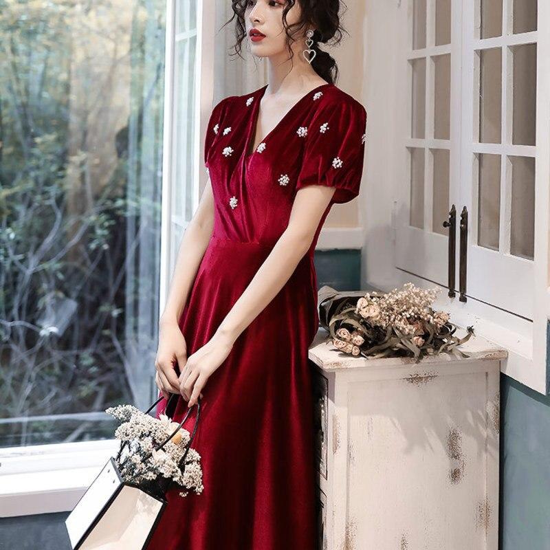 2019 Sale Toast, Wine Red, Autumn And Winter 2020 Vintage Velvet Small Dress, Bride's Wedding Engagement, Back Door Dress Fairy