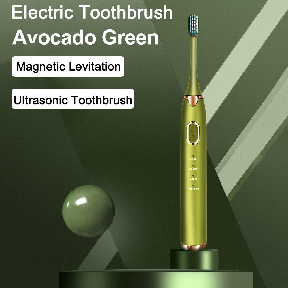 Escova de dentes elétrica levitação magnética sonic escova de dentes elétrica recarregável abacate verde escova de dentes carregador rápido