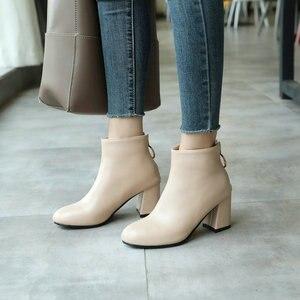 Image 3 - ZawsThia PU yuvarlak ayak yeşil blok yüksek topuklu kadın stilettos pompaları moda yarım çizmeler kadınlar için martin çizmeler kadın ayakkabı