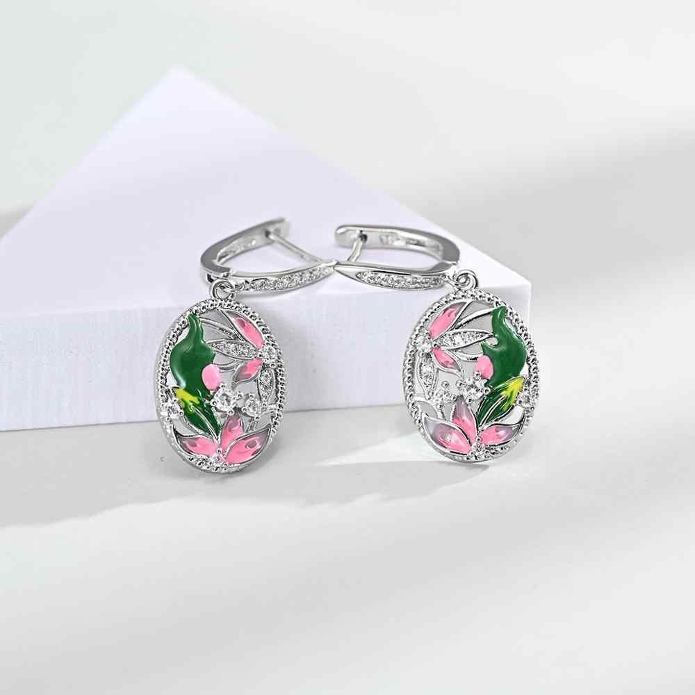 Elegante 925 Silber Emaille kreative oval Blume Anhänger Halskette Ohrringe Schmuck anzug