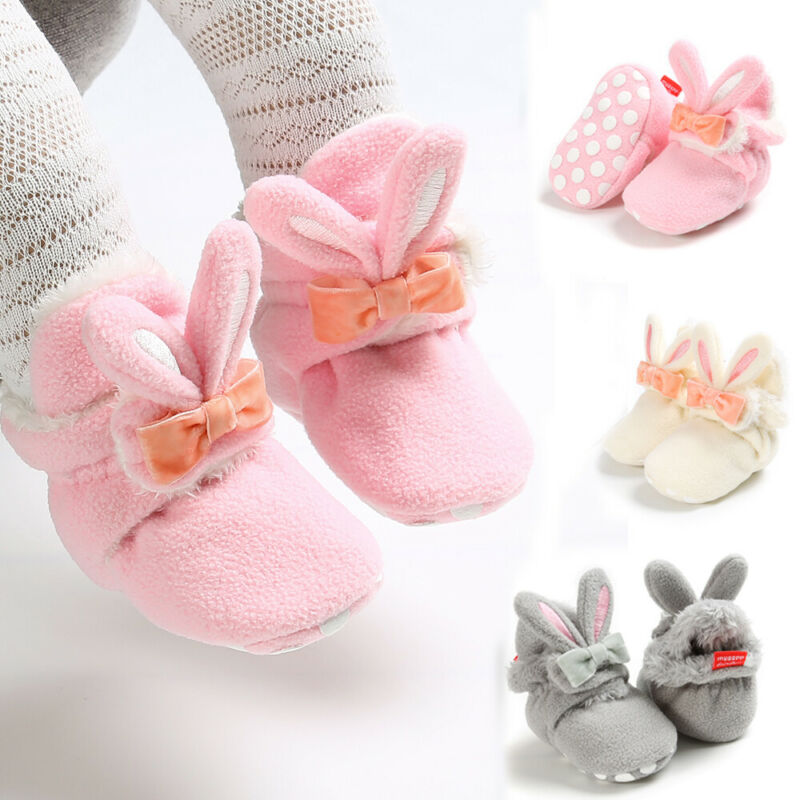 Autumn WInter Newborn Baby Girls Boys Clothes Rabbit Plush Shoes First Walker Soft Sole Shoes For Princess Toddler Girls