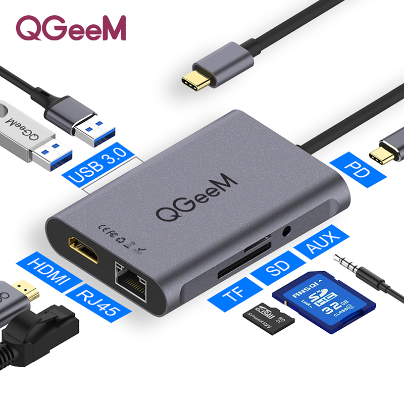 QGeeM 8 In 1 USB C Hub For Macbook Pro USB Hub 3.0 Adapter PD HDMI RJ45 TF SD 3.5mm Aux Type C Hub For IPad Pro Splitter Dock