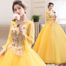 Quinceanera Dresses 2020 Yellow Party Dress Classic Full Sleeve V-neck Ball Gown Sweet Floral Print Prom Vestido De Quincenera(China)