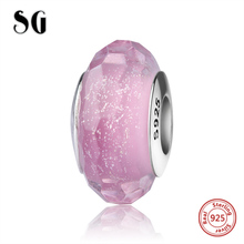 Elegant Murano glass beads silver 925 pink color charms fit authentic pandora bracelet dazzling jewelry making for women gift