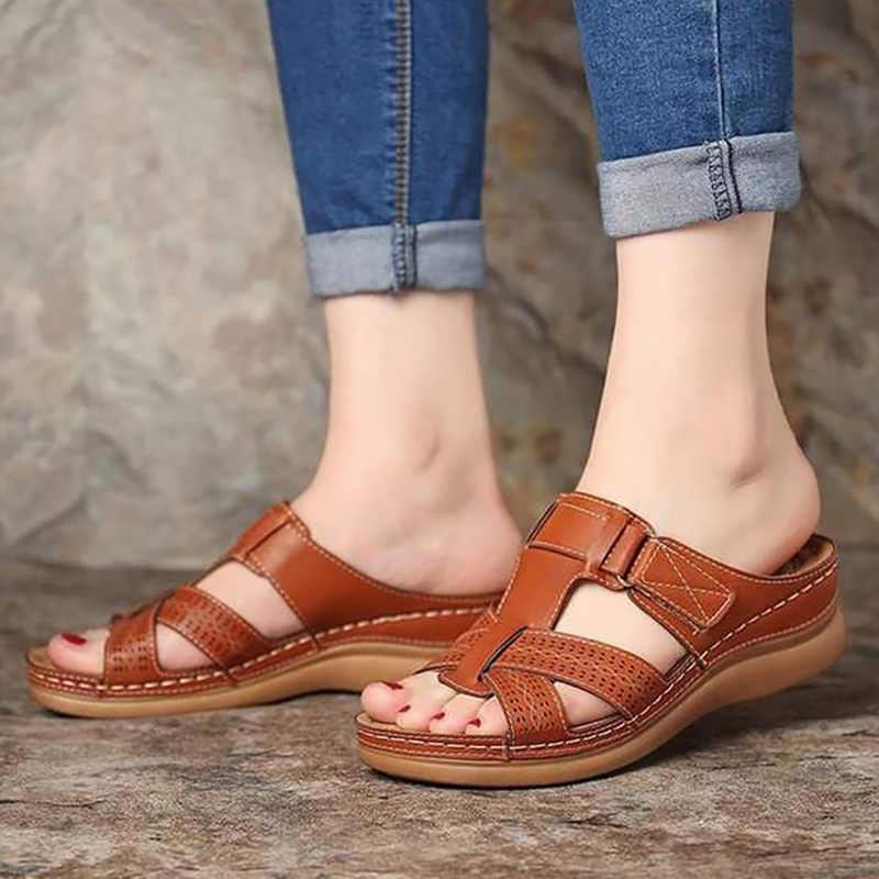 Zomer Vrouwen Sandalen Wiggen Casual Schoenen Romeinse Sandalen Vrouwen Sandalia Feminina Platform Sandaal Teen Corrector Cusion Big Size 44