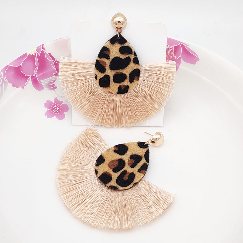 Tassel Leather <font><b>Earrings</b></font> <font><b>Sexy</b></font> Double-sided Leopard Print <font><b>Long</b></font> Fringe Statement Drop <font><b>Earrings</b></font> for <font><b>Women</b></font> Fashion Jewelry 2019 image