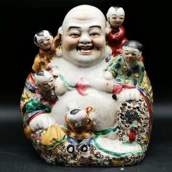 20.5 cm */ Delicate Chinese Colorful Porcelain Buddha and Lovely Children Auspicious Statue