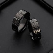 Venda quente anéis de moda ocidental preto revestimento anéis de aço inoxidável para jóias masculinas na moda 2020