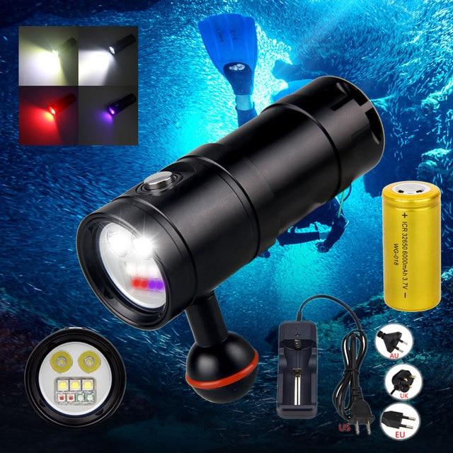 Lampe de plongée sous marine, 100M 2350lm, étanche XM LED, éclairage blanc/rouge/UV pour photographie et vidéo + batterie 32650