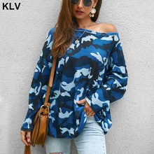 Womens Autumn Knit Off Shoulder Camo Oversized Camouflage Tops Casual Printed Pullovers Long Sleeve Jumper