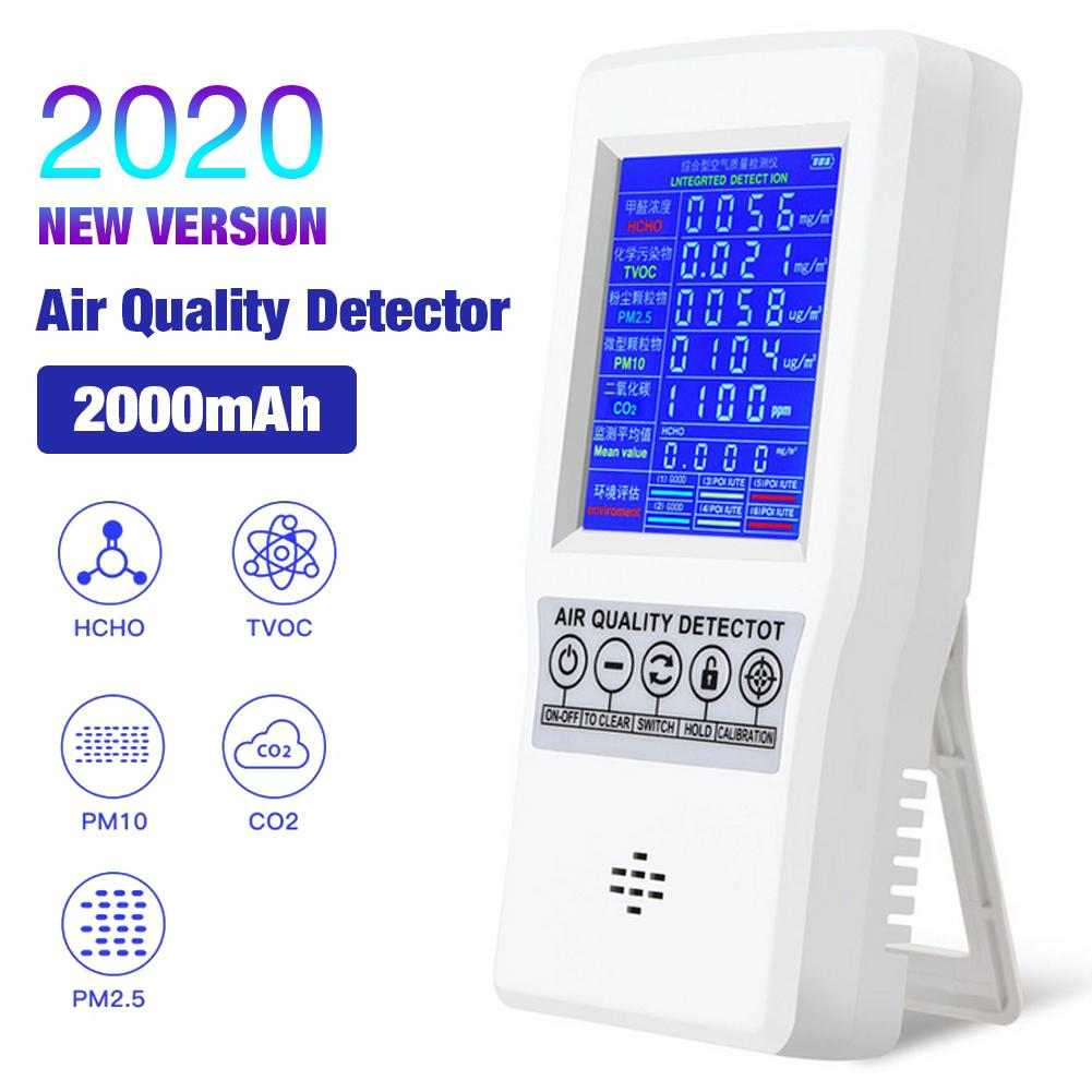 Portable Accurate Air Quality Monitor Hcho Tvoc Pm2.5 Pm10 Tester Detector Temperature Humidity Meter For Pollution Monitoring Refreshment