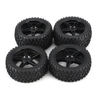 Universal 4pcs 1/10 Scale Off Road Buggy Tires Star Wheel Rims Set Front and Rear 12mm Hex Hubs with Foam Inserts