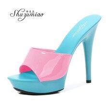 Shoes Women Slipper 2020 Summer Fine Heel 13cm Shoe Slipper Platform Patent leather Pumps Sexy Shoes Stripper Hihg Heels Sandals