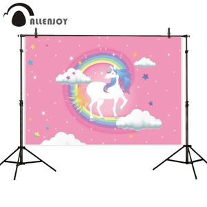 Image 5 - Allenjoy Baby Shower photophone backdrop rainbow unicorn sky children 1st birthday party photo background photocall photo studio