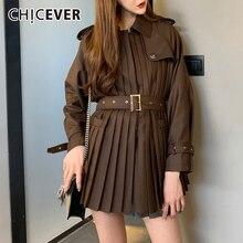 CHICEVER kore Patchwork kadın ceketi yaka yaka uzun kollu yüksek bel Sashes pilili sonbahar palto kadın 2020 moda yeni