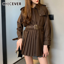 Chicever 韓国のパッチワークの女性のジャケットのラペルの襟長袖ハイウエストサッシプリーツ秋コート女性 2020 ファッション新