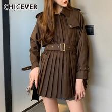 Diseño coreano con varias telas CHICEVER, chaqueta para mujer, cuello de solapa, manga larga, fajas de cintura alta, abrigos plisados de otoño para mujer, novedad 2020