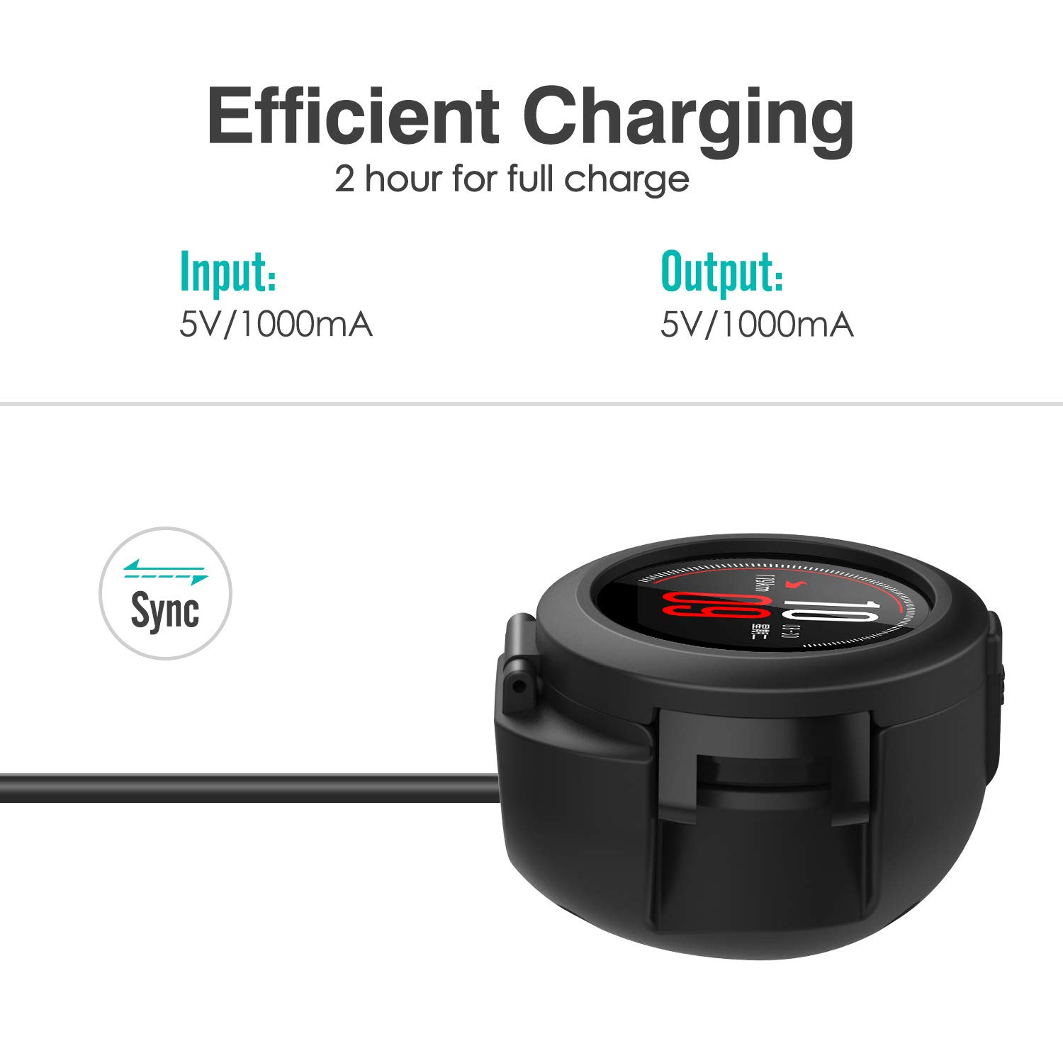 For Amazfit Verge A1801 Charger Dock, Portable Fast Charging Replacement Charging Docking Stand Adapter Station Cradle Dock Base