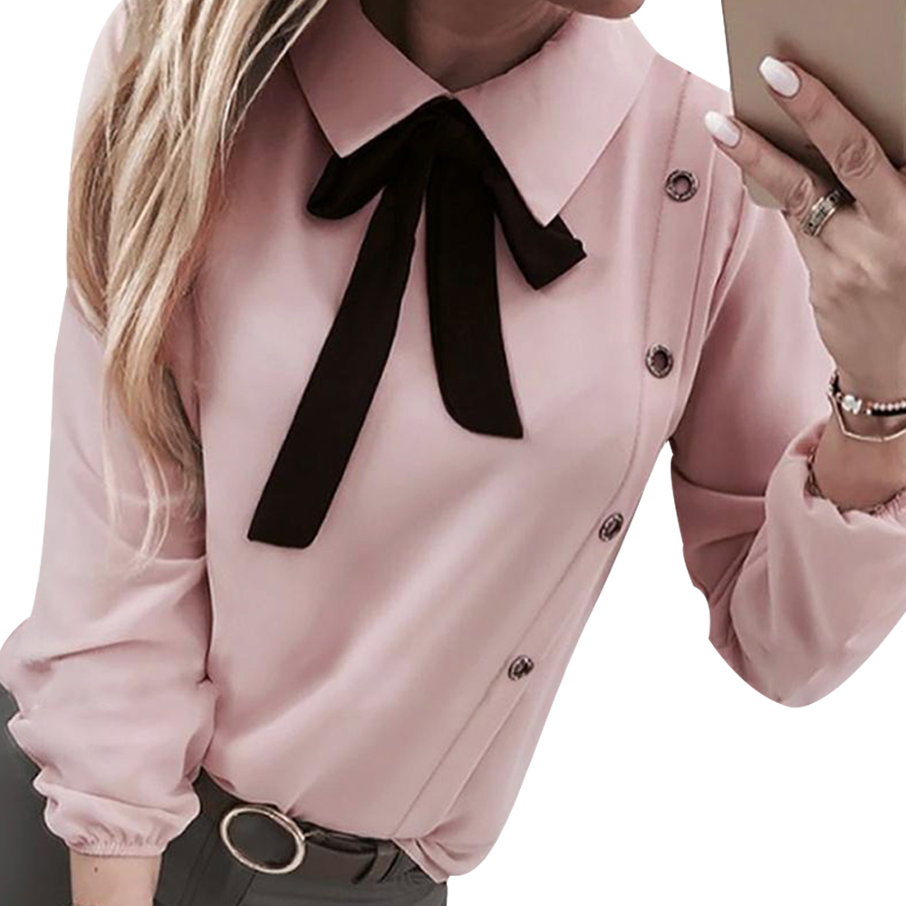 Vintage Women White Blouses Top Fashion Bow Tie Blusa Elegant Lady Long Sleeve Blouse Lady Office Blusa Casual Camisas Mujer D30