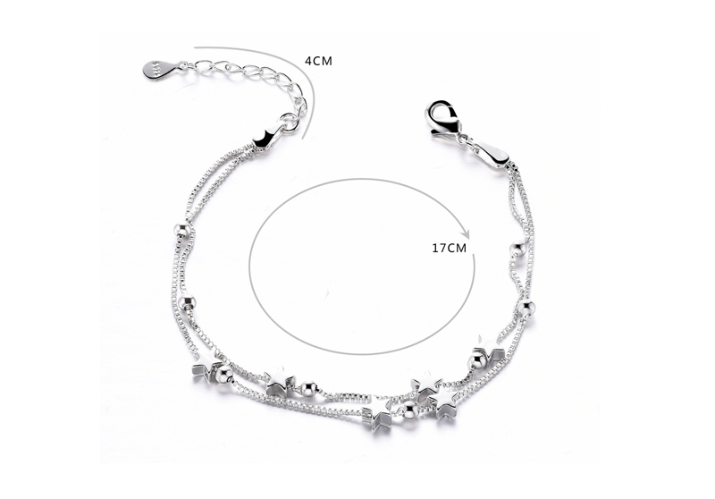 YANHUI Simple 925 Stamp Sterling Silver Double-layer Circle Geometric Bracelet For Women Fashion Pulseras Silver 925 Jewelry
