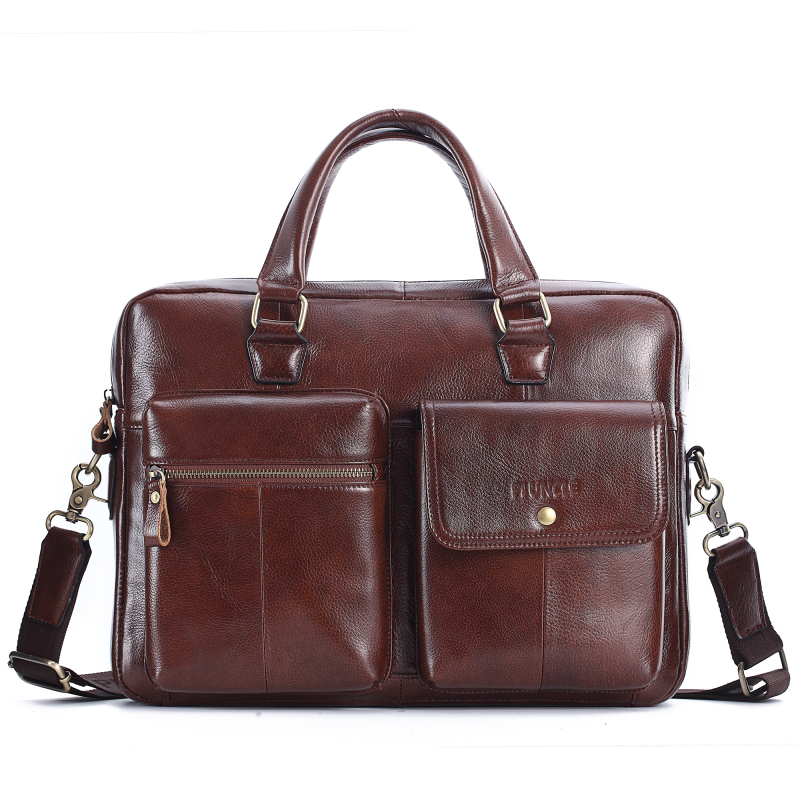 Men's Briefcase 100% Genuine Leather Business Bag Cowhide Male Laptop Handbag Crossbody Shoulder Bags High Quality Messenger Bag