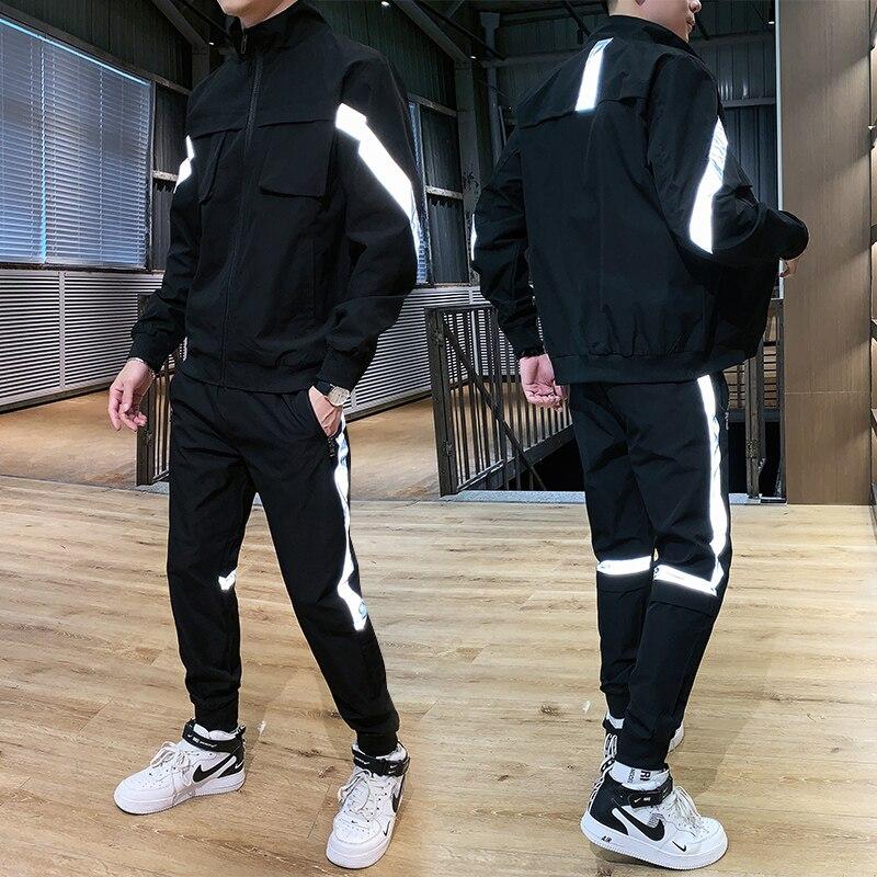 Chándal Harajuku para hombre, conjunto de traje para correr, reflectante, Hiphop, 2 uds., sudaderas con capucha + Pantalones, ropa deportiva para hombre 2020 Conjuntos para hombres  - AliExpress