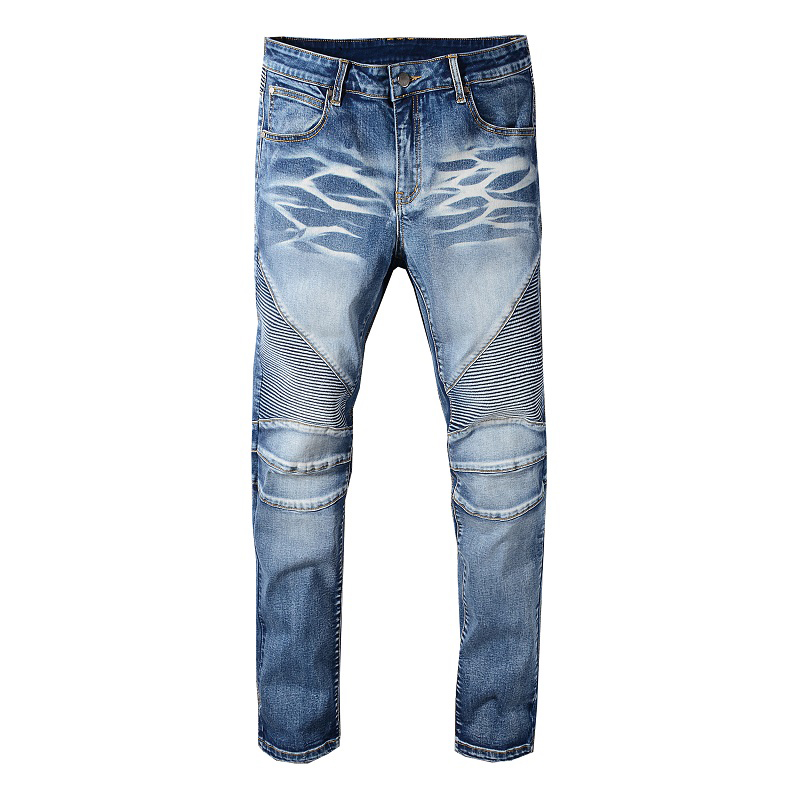 Sokotoo Men's Blue Stretch Denim Biker Jeans For Motorcycle Slim Fit Classic Pleated Pants High Quality