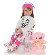 Fashion bebe Doll smart girl baby Toy with Printed clothes simulation 3D reborn baby Doll Cuddle Gift real silicone For Girl Toy wmdoll top quality silicone sex doll head for real human dolls real doll adult oral sex toy for men