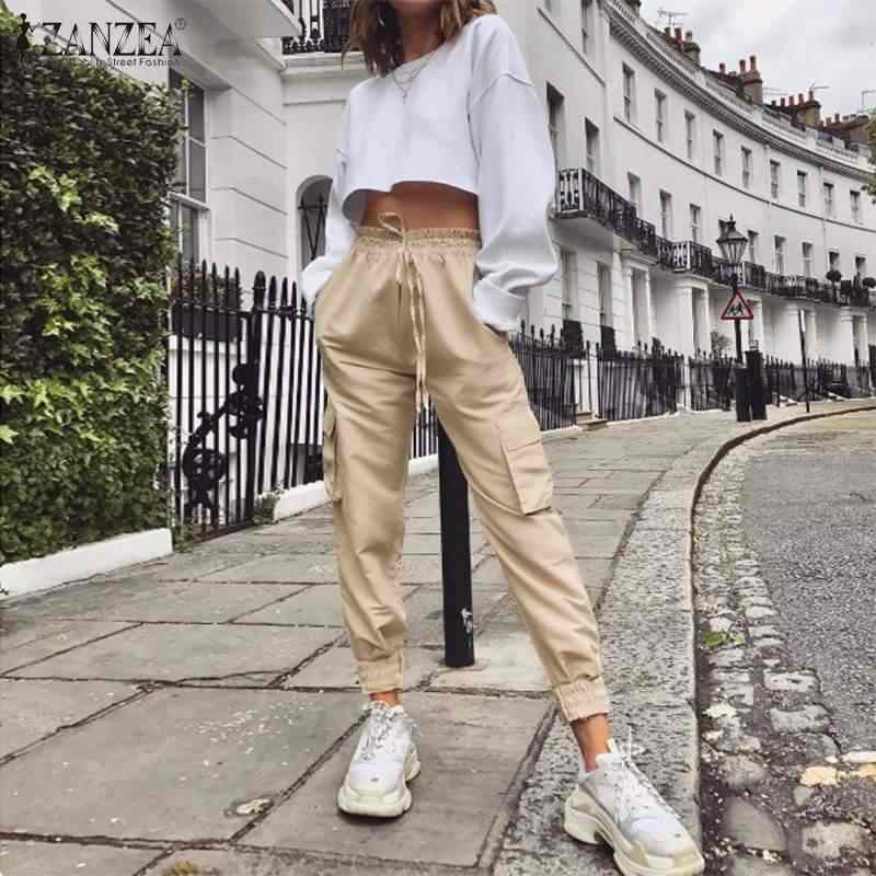 2020 Fashion Zanzea Vrouwen Broek Lady Solid Hoge Wiast Broek Casual Zakken Cargo Broek Vrouwelijke Lange Pantalones Streetwear