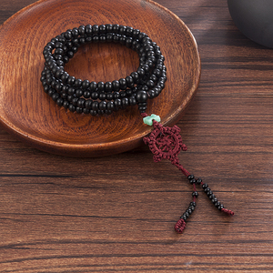 Image 5 - 2 Color Natural Fragrant Sandalwood Beads Bracelet Buddhist Meditation Prayer Beads Mala Bracelet Hand Necklace