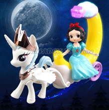 Princess Moon Carriage Cars With Lights Sounds Frozen Elsa Anna Snow White Cinderella Sophia Dolls Toys for Children Girls Gifts