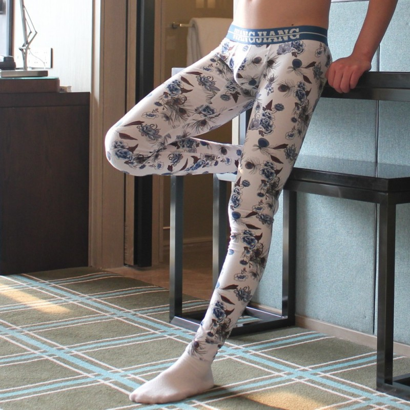 Mens Sleep Bottoms Pantalones Thin Sleepwear Printed Fitness Thermal Pajamas Pants Trousers Nightwear Cotton Lounge Leggings