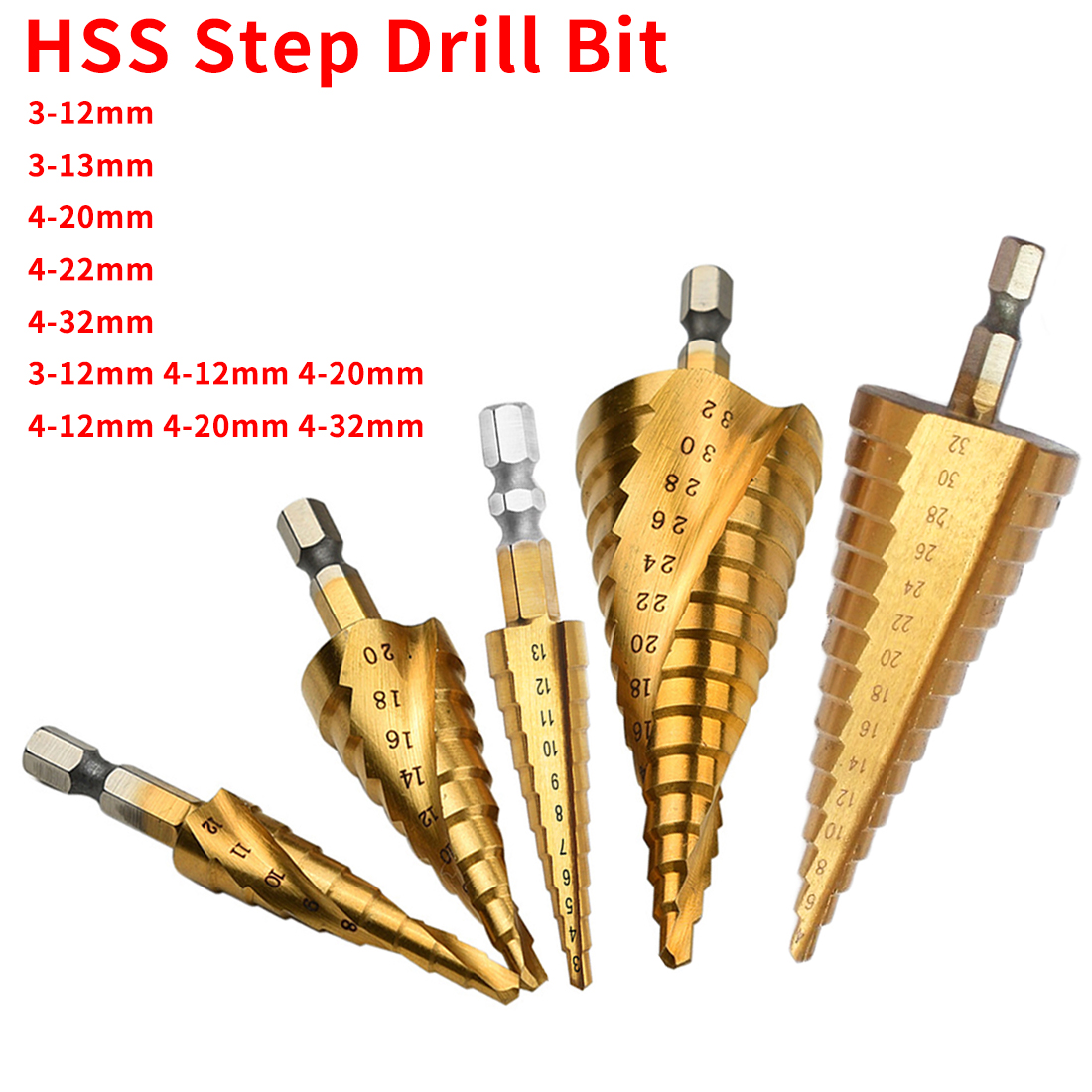 Hex Shank Step Drill Bit 3-13/3-12/4-20/4-32mm HSS Titanium Steel Woodworking Metal Drilling Set Step Cone Cutting Tools