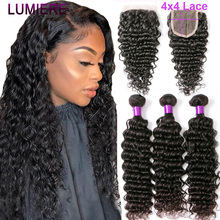 Lumiere Hair Brazilian Human Hair Bundles With Closure Deep Wave 4 Bundles With Lace Closure Remy Hair Bundles With Closure 1B