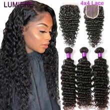 Lumiere saç brezilyalı insan saç demetleri ile kapatma derin dalga 4 demetleri ile dantel kapatma Remy saç demetleri ile kapatma 1B
