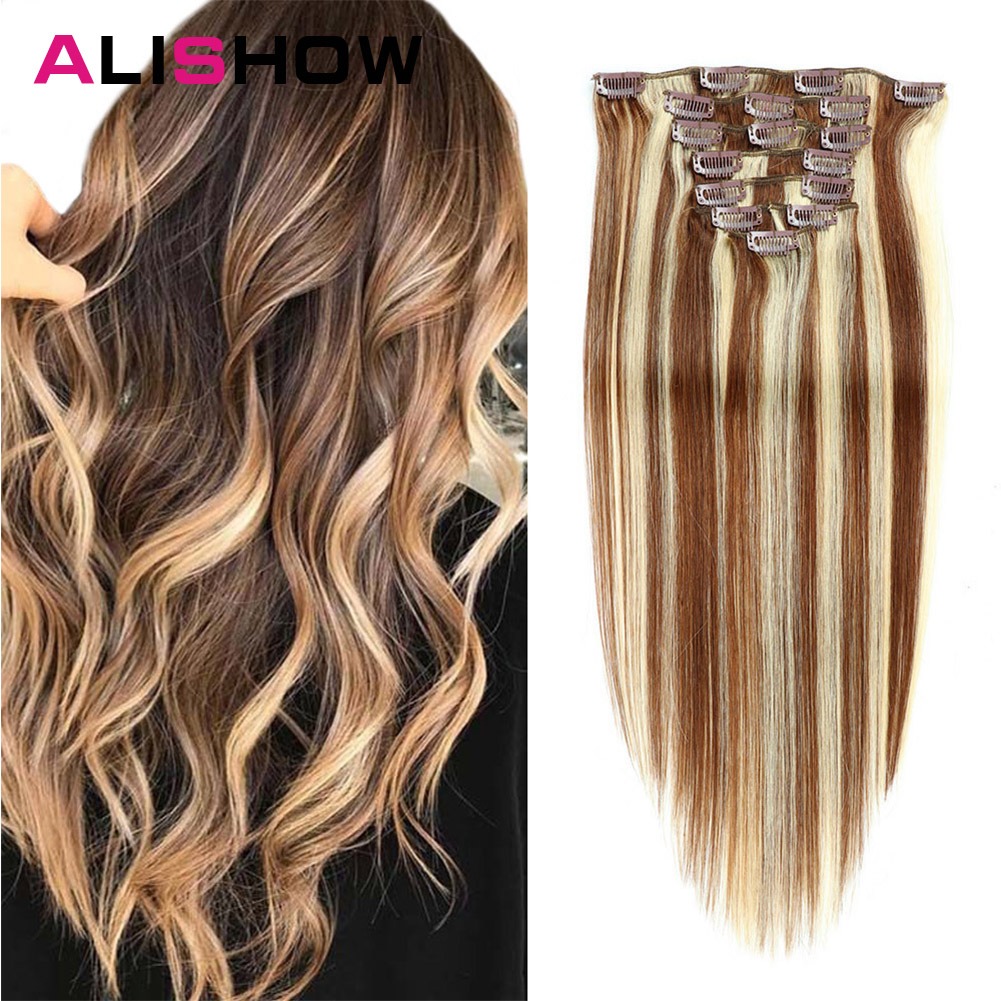 Alishow 160g 10pcs/set Clip In Hair Extensions 100% Natural Hair Brazilian Straight Machine Remy Weft Human Hair Clips