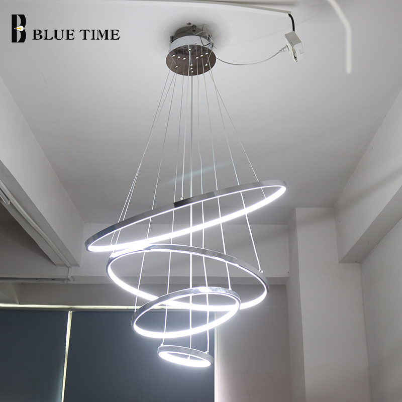 Modern Led Chandeliers Lighting Chrome Circle Hanging lamp For Living Room Bedroom Dining room Lustre Ceiling Chandeliers Light