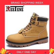 REETENE г. Мужские зимние ботинки ботильоны на меху мужская повседневная обувь Высококачественная плюшевая мужская уличная рабочая обувь размера плюс 46